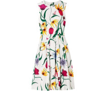 Woman Pleated Floral-print Cotton-blend Faille Dress White