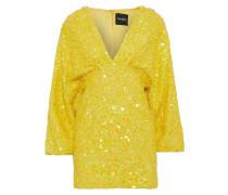Woman Aubrielle Sequined Chiffon Mini Dress Yellow