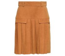 Pleated Suede Mini Skirt Camel Size 16