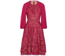 Cutout Chiffon-paneled Guipure Lace Dress Fuchsia