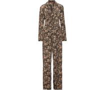 Metallic floral-print silk-twill jumpsuit