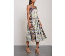 Pleated Printed Faille Midi Dress Sky Blue
