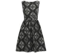 Gathered Printed Taffeta Mini Dress Black