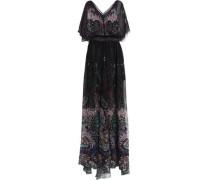 Velvet-trimmed silk-chiffon gown
