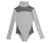 Lace-paneled mélange jersey turtleneck bodysuit