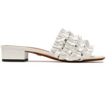 Ruffled Patent-leather Mules White