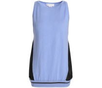 Voile-paneled silk, wool and cashmere-blend top