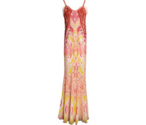 Leather-trimmed embroidered printed silk-georgette gown