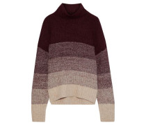 Jenny Color-block Ribbed-knit Turtleneck Sweater Merlot