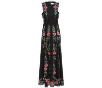 Woman Laelia Embroidered Linen And Cotton Midi Dress Black