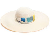 Bunny Printed Faille-trimmed Woven Straw Sunhat Cream Size ONESIZE
