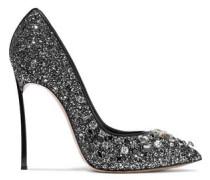 Crystal-embellished Glittered Leather Pumps Black