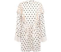 Ruffled Polka-dot Satin Mini Dress Ivory