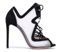 Lace-up suede and mesh sandals