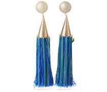 Gold-tone tasseled clip earrings