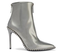 Eri Studded Metallic Patent-leather Ankle Boots White Gold