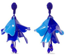 Gold-tone, Bead And Resin Clip Earrings Blue Size --
