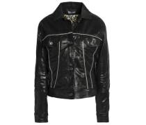 Crystal-embellished Coated Denim Jacket Black