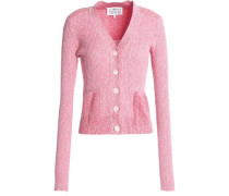 Marled ribbed cotton-blend cardigan