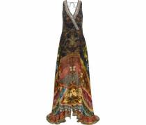 Gathering Dusk layered embellished printed silk playsuit