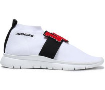 Stretch-knit High-top Sneakers White