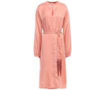 Belted Washed-satin Midi Dress Blush Size 1