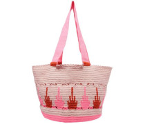 Scalloped Printed Woven Tote Blush Size --