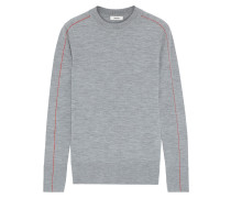 Woman Mélange Merino Wool Sweater Gray