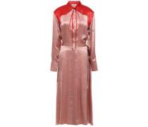 Two-tone Crinkled-satin Midi Shirt Dress Antique Rose