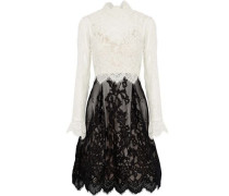 Scalloped two-tone corded lace dress