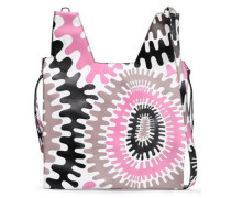 Zip-detailed Printed Leather Tote Pink Size --