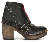 Studded Perforated Leather Ankle Boots Black