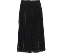 Studded Lace Midi Skirt Black