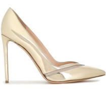 Mesh-trimmed Mirrored-leather Pumps Platinum