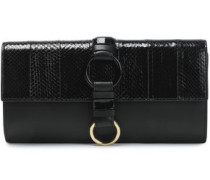 Embellished Leather And Watersnake Clutch Black Size --