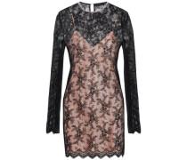 Embellished plissé lace mini dress