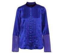 Izarra chiffon-paneled pintucked silk-satin blouse