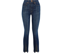 Split-front Faded High-rise Skinny Jeans Dark Denim  4