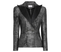 Button-embellished Satin-trimmed Metallic Coated-knitted Blazer Black