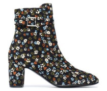 Printed corduroy ankle boots