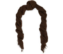 Fringe-trimmed cashmere and silk-blend cashmere scarf