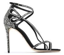 Keira Crystal-embellished Cutout Satin Sandals Black
