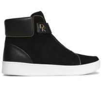 Leather And Suede High-top Sneakers Black