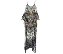 The Bodyguard Cold-shoulder Printed Silk Crepe De Chine Maxi Dress Ecru Size ONESIZE