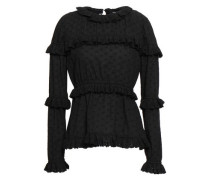 Ruffled Broderie Anglaise-trimmed Fil Coupé Cotton Top Black