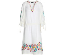 Embroidered Cotton-gauze Dress Ivory