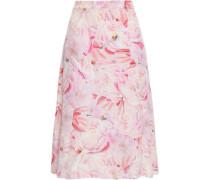 Floral-print Silk Skirt Baby Pink