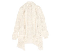 Draped open-knit cotton-blend cardigan
