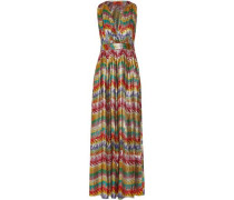 Printed silk-blend lamé maxi dress