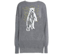 Sequin-embellished merino wool sweater